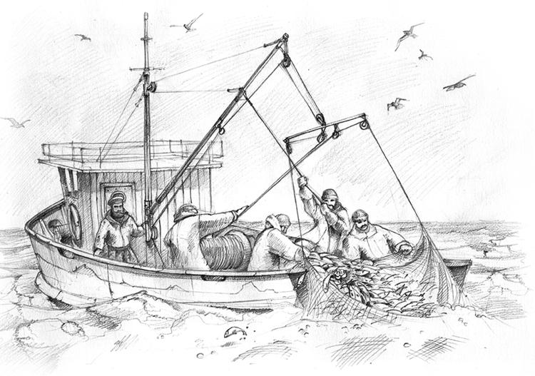 Христианская поделка рыбака ловящего рыбу сетью 68